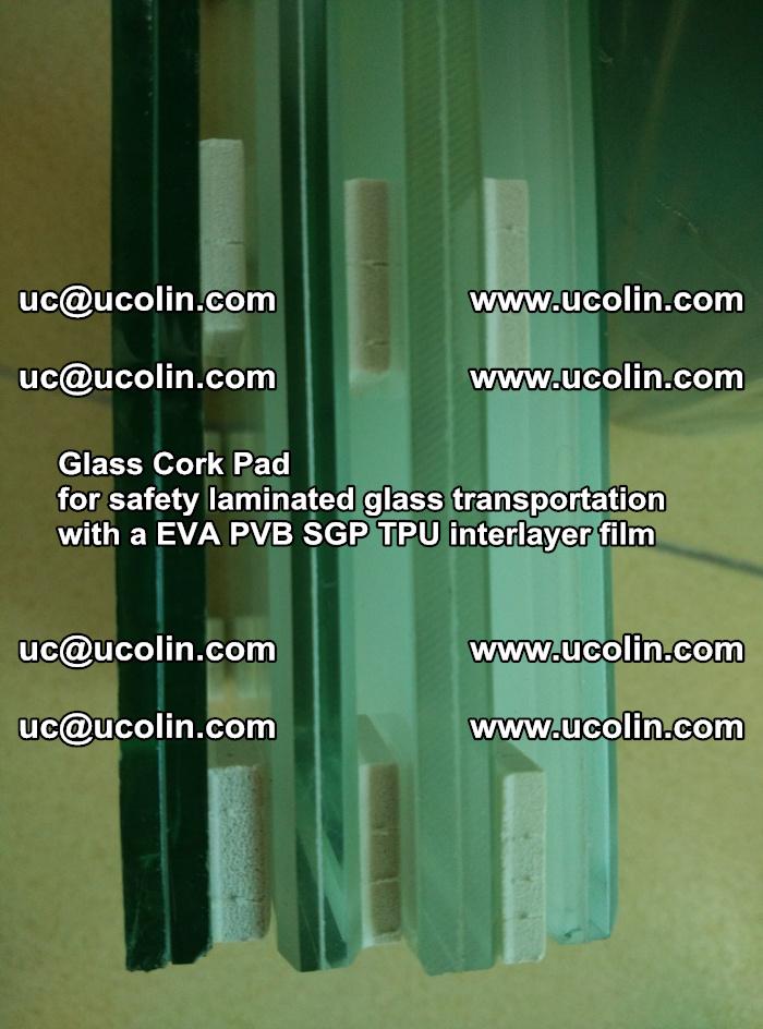 Glass Cork Pad for safety laminated glass transportation with a EVA PVB SGP TPU interlayer film (145)