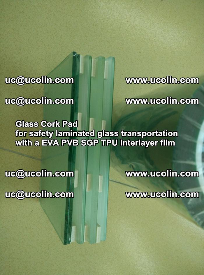 Glass Cork Pad for safety laminated glass transportation with a EVA PVB SGP TPU interlayer film (147)