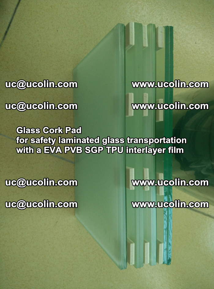 Glass Cork Pad for safety laminated glass transportation with a EVA PVB SGP TPU interlayer film (28)