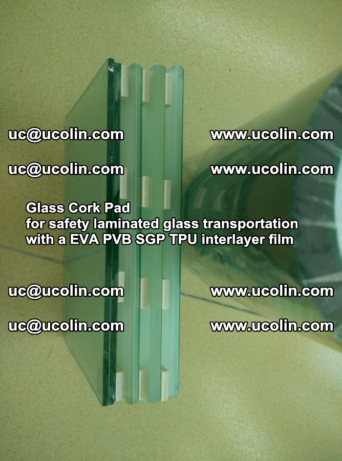 Glass Cork Pad for safety laminated glass transportation with a EVA PVB SGP TPU interlayer film (3)