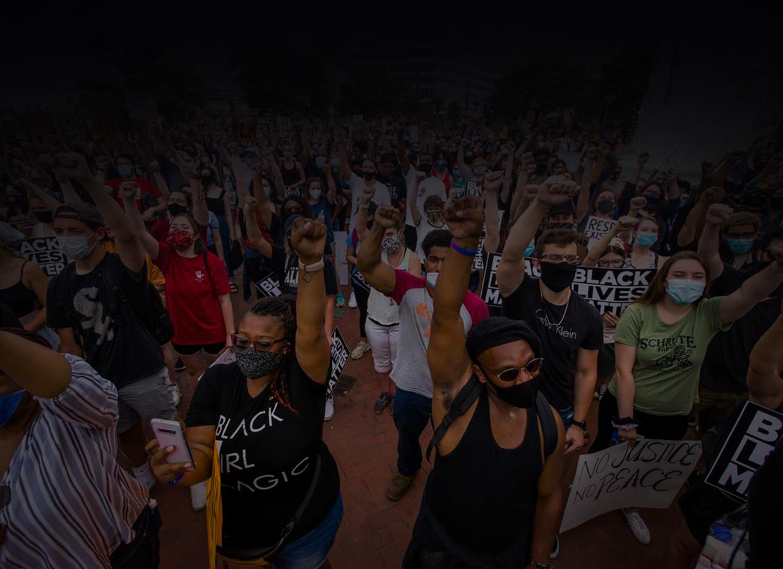 Large Diverse Group at Black Lives Matters Protest
