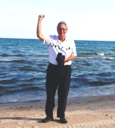 Lake Michigan breezes push Tom into his stem cell birthday week.