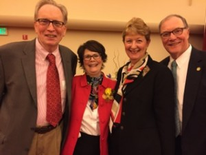 Donna and George Beestman celebrate with Ellen and Tom Foley at the 2015 Athena Awards.