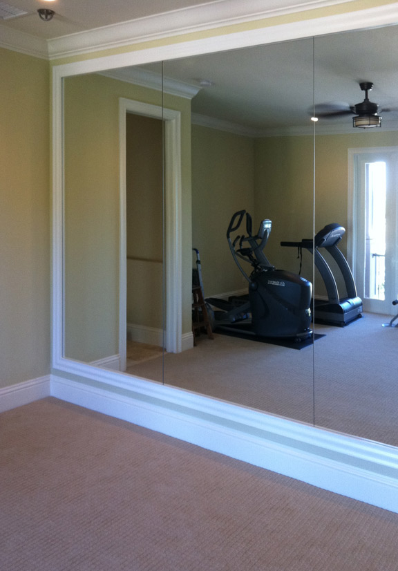 A whole wall mirror is perfect for home or office fitness room, dressing, dining and living areas.