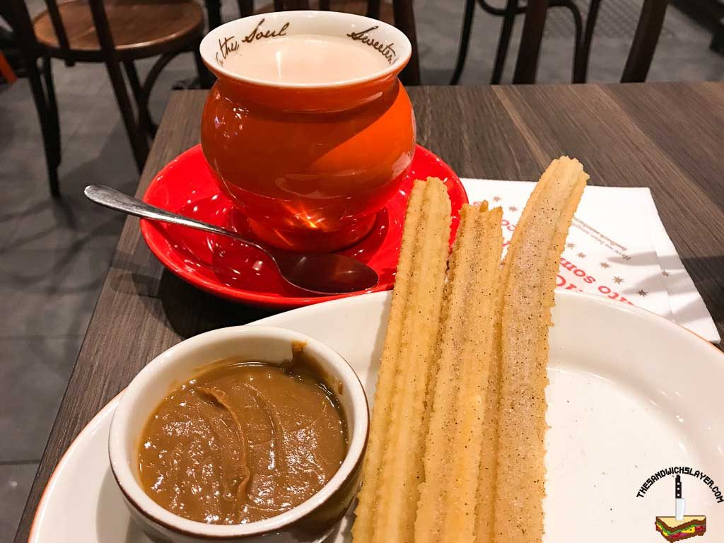 San Churro in Adelaide. Churros with caramel and hot chocolate