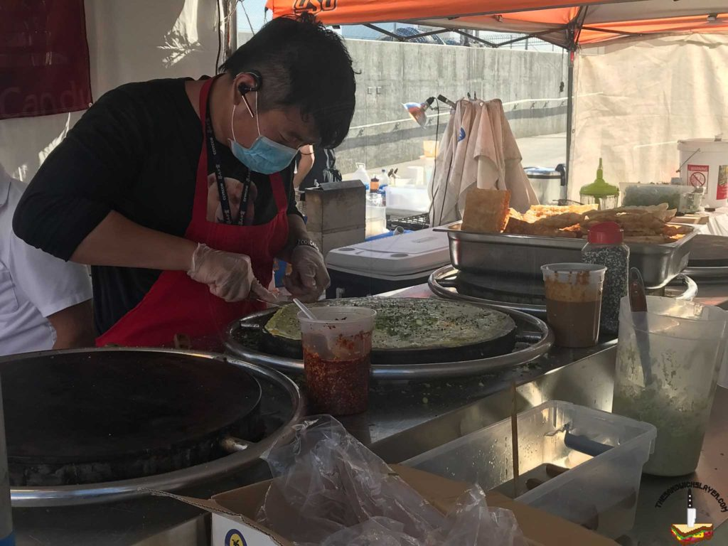 Making Chinese Crepes at the Ktown Night Market