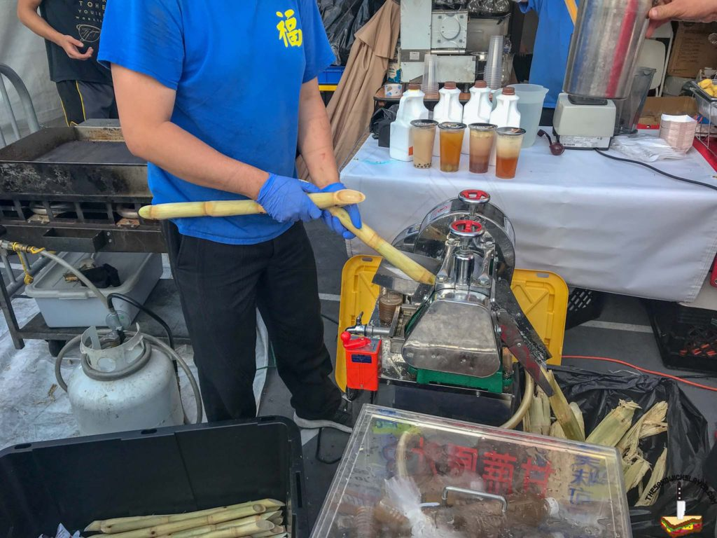 Sugar Cane juice made through a mechanical extractor at the Ktown Night Market