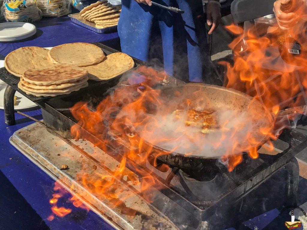 Flambe'd Saganaki at the taste of Greece festival