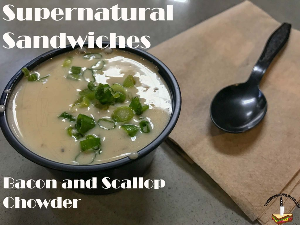 Savor Santa Ana Scallop and Bacon Chowder from Supernatural Sandwiches