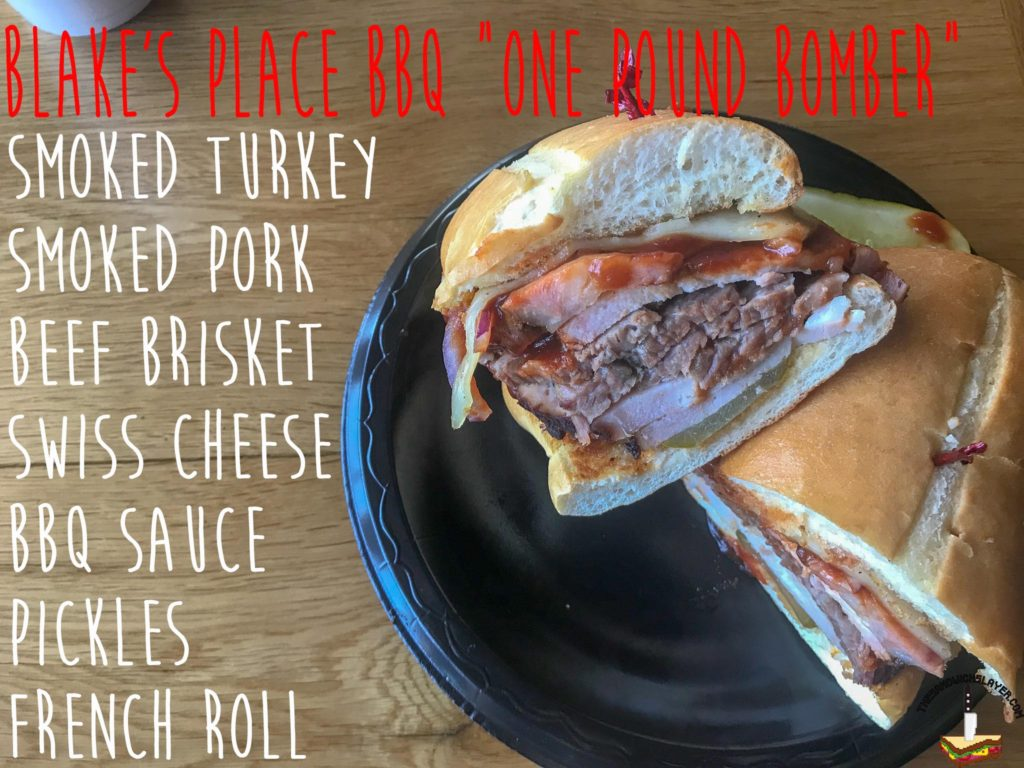 Blake's Place BBQ One Pound Bomber Sandwich Ingredients list