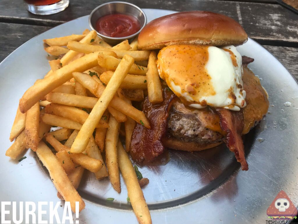 Bacon Burger poached egg fries
