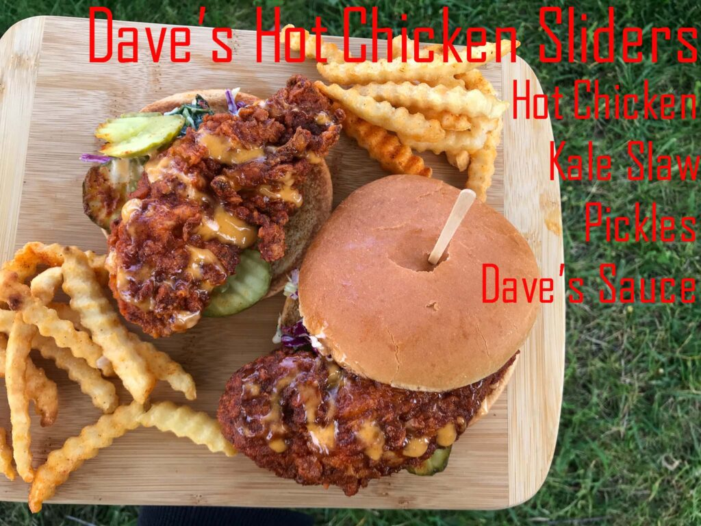 Two Fried Hot Chicken Slider Sandwiches with Fries. With Ingredients list from Dave's Hot Chicken