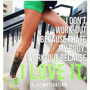 Fitness Motivational Quotes I Don't Work-out Because I Hate My Body, I Work-out Because I Love It