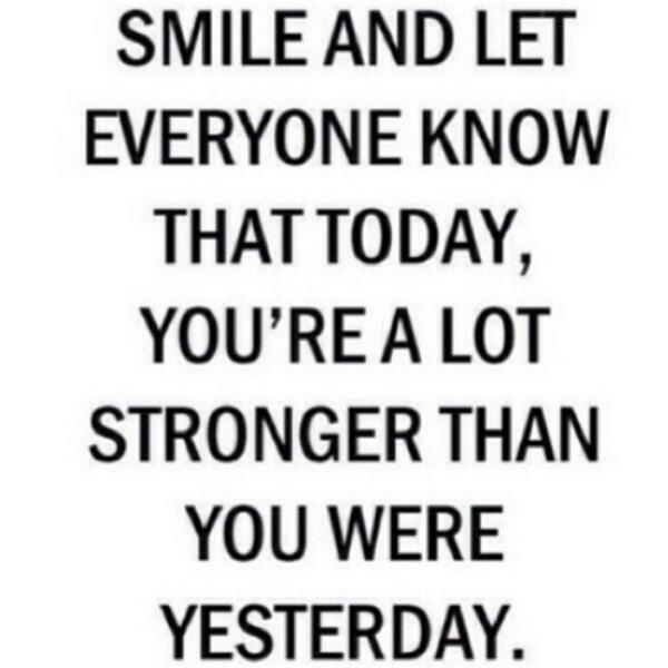Fitness Motivational Quotes Smile And Let Anyone Know That Today, You're A Lot Stronger Than You We're Yesterday