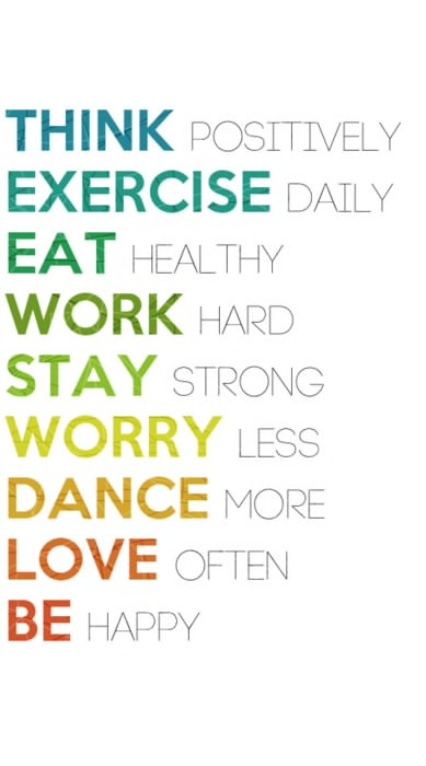 Fitness Motivational Quotes Think Positively, Exercise Daily, Eat Healthy, Work Hard