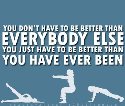 Fitness Motivational Quotes You Don't Have To Be Better Than Everybody Else, You Just Have To Be Better Than You Have Ever Been
