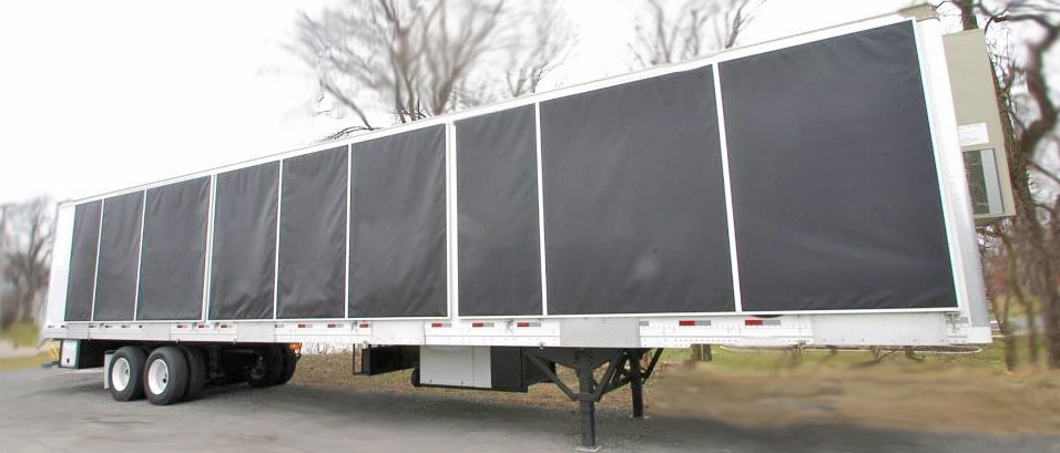 semi trailer conversion with awning cover wide