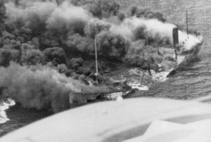 The Dixie Arrow Burning Tanker from a U-Boat torpedo in 1942