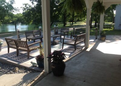 outdoor space with seating near water