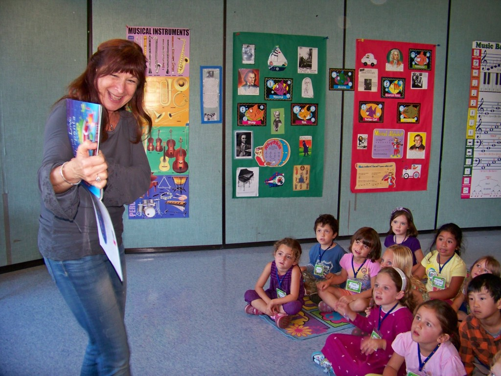 Audrey teaching singing books class