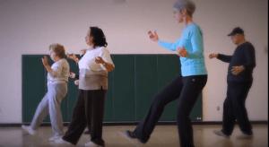 students practicing tai chi walking