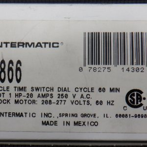 INTERMATIC C8866 Industrial 60 Minute Cycle Time Switch SPDT 1HP 20A 208-277V