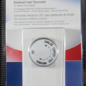LUX Products LV21 54061 Mechanical Baseboard Heat Thermostat 2P 5280W 240V White