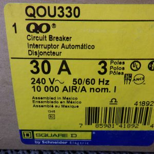 Square D QOU330 3 Pole 30A 240V Circuit Breaker