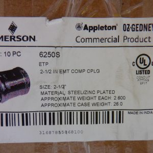 Appleton EPT 6250S 2 1/2″  EMT Compression Coupling (10 Pcs) Steel Zinc Plated
