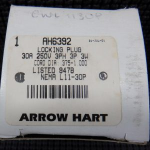Arrow Hart AH6392 30A 250V 3Ph 3P 3W Nema L11-30P Locking Plug