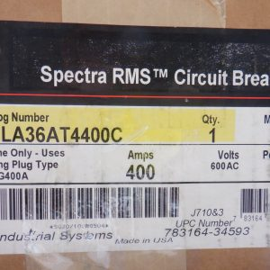 GE SGLA36AT4400C Spectra 400A 600V 3P Circuit Breaker w/SRPG400A Rating Plug