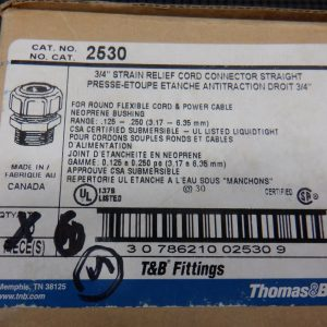 Thomas & Betts 2530 (5 Pcs) 3/4″ Strain Relief Cord Connector Straight .125-.250