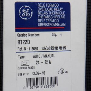 GE RT22D Overload Relay 24 – 32 AMP Range Class 20 Auto/Manual Use with CL06-10