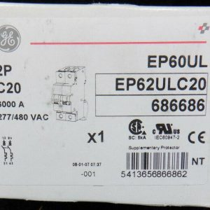 GE General Electric EP62ULC20 480VAC 2 Poles C20 Supplementary Protector NEW