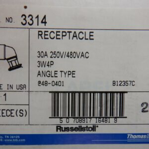 Thomas & Betts 3314 30A 250V/480VAC 3W4P Angle Type Receptacle With Screw Kit