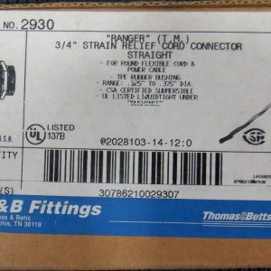 Thomas & Betts 2930 (10 Pieces) 3/4″ Strain Relief Straight Cord Connector New