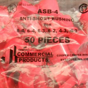 Cooper ASB-4 Anti-Short Bushing For 3/4 – 100 Pieces (2 Bags 50 ea)