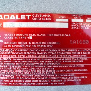 Adalet XCE 061305 N4 Class I, II & III 600V XCEX Explosion Proof Enclosure New