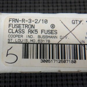 Cooper Bussmann FRN-R-3-2/10 Class RK5 Time Delay Current Limiting – 5 Pieces