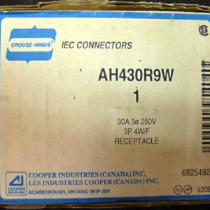 Cooper Crouse Hinds AH430R9W 30A 3P 4W 250V Watertight Receptacle New