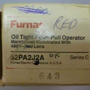 Furnas 52PA2J2A Oil Tight Push-Pull Operator Maintained Illuminated 480V Red NEW