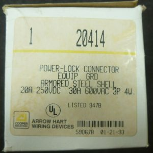 Cooper Arrow Hart 20414 30A 600V 3P 4W Armored Steel Power-Lock Grd Connector