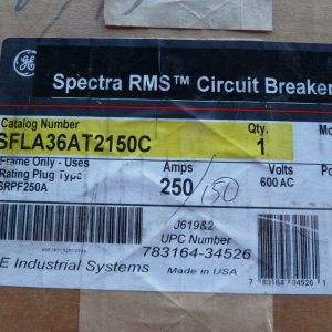 General Electric SFLA36AT2150C 250A 600V 3P Spectra Breaker W/150A Plug NEW