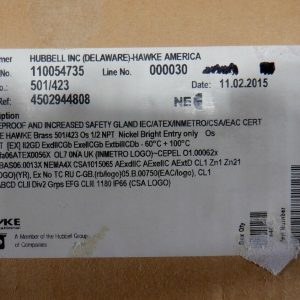 Hawke 501/423 Os 1/2″ NPT Flameproof & Increased Safety Gland NEW