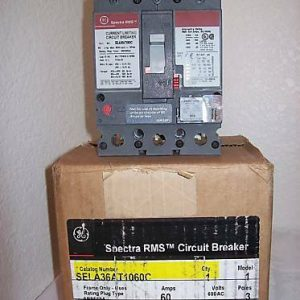 GE SELA36AT1060C 60A 600V 3Poles Circuit Breaker w/SRPE60A Rating Plug *NEW*