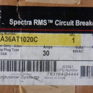 Spectra 30A 3P 600V Breaker with 30A Plug
