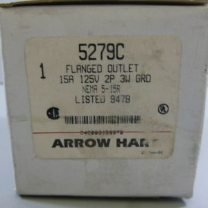 Cooper Arrow Hart 5279C 15A 2P 3W Ground 125V Nema 5-15R Flanged Outlet New