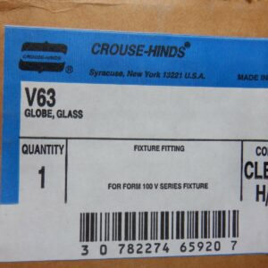 "Crouse-Hinds V63 Glass Globe Form 100 V Series 2 15/16"" Opening Heat Resistant"
