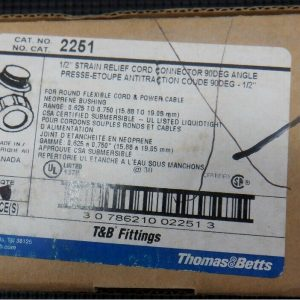 Thomas & Betts 2251 (5 Pieces) 1/2″ Strain Relief 90 Deg Cord Connector New