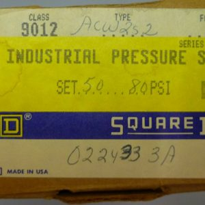 Square D 9012 ACW2S2 Industrial Pressure Switch 50 – 80 PSI NEW